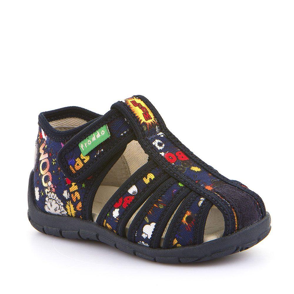 Otvorene personalizirane papuče za dječake u plavoj boji sa uzorkom picture