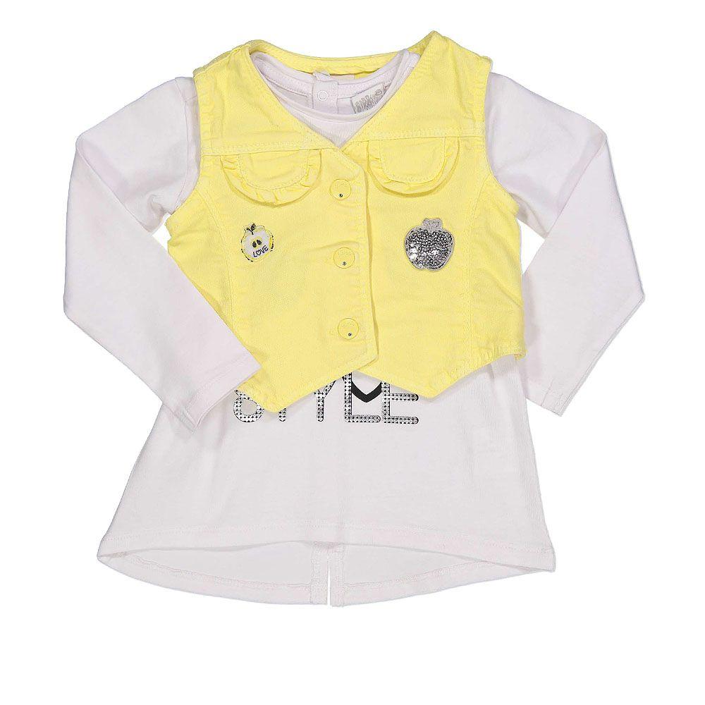 Baby set za djevojčice bijela majica i žuti prsluk picture