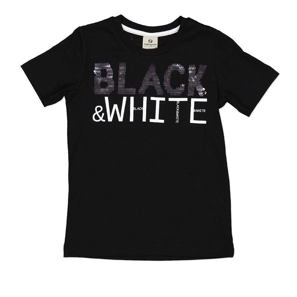Pamučna majica za dječake u crnoj boji sa kontrasnim printom picture