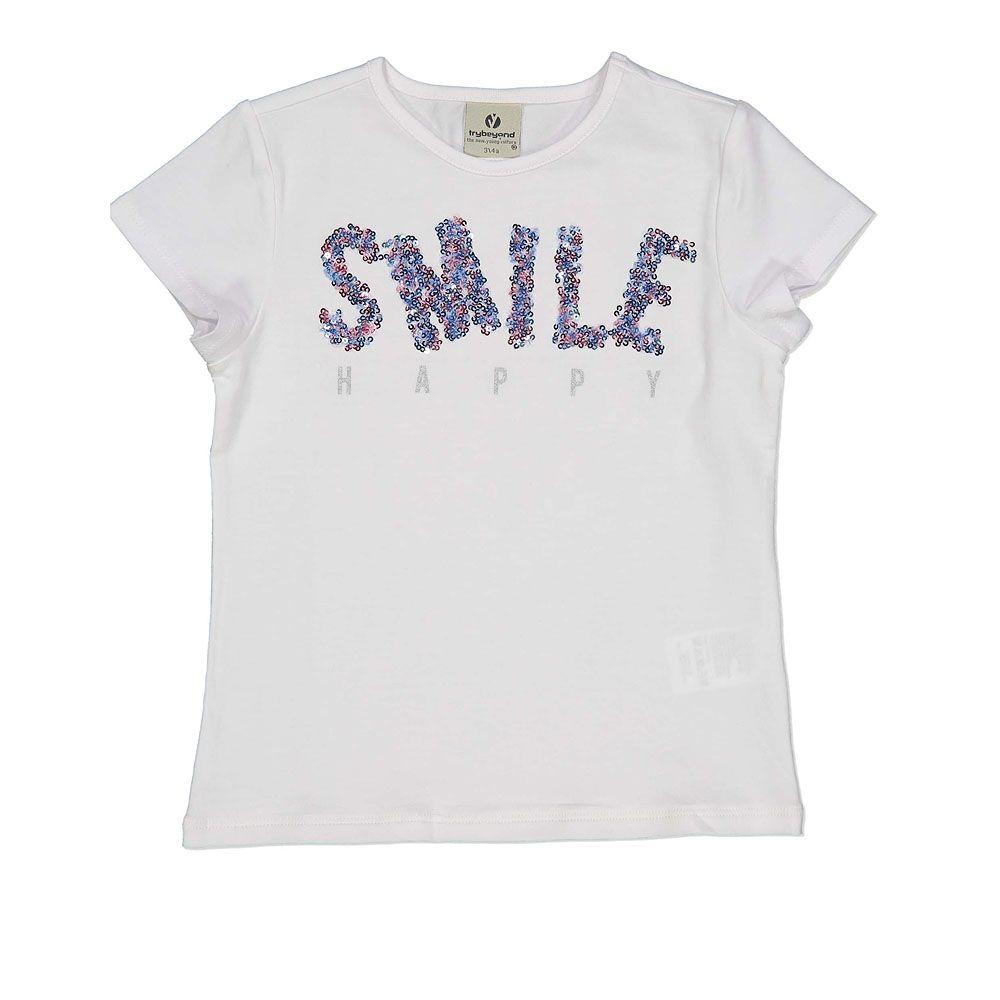 Pamučna majica za djevojčice s natpisom smile picture